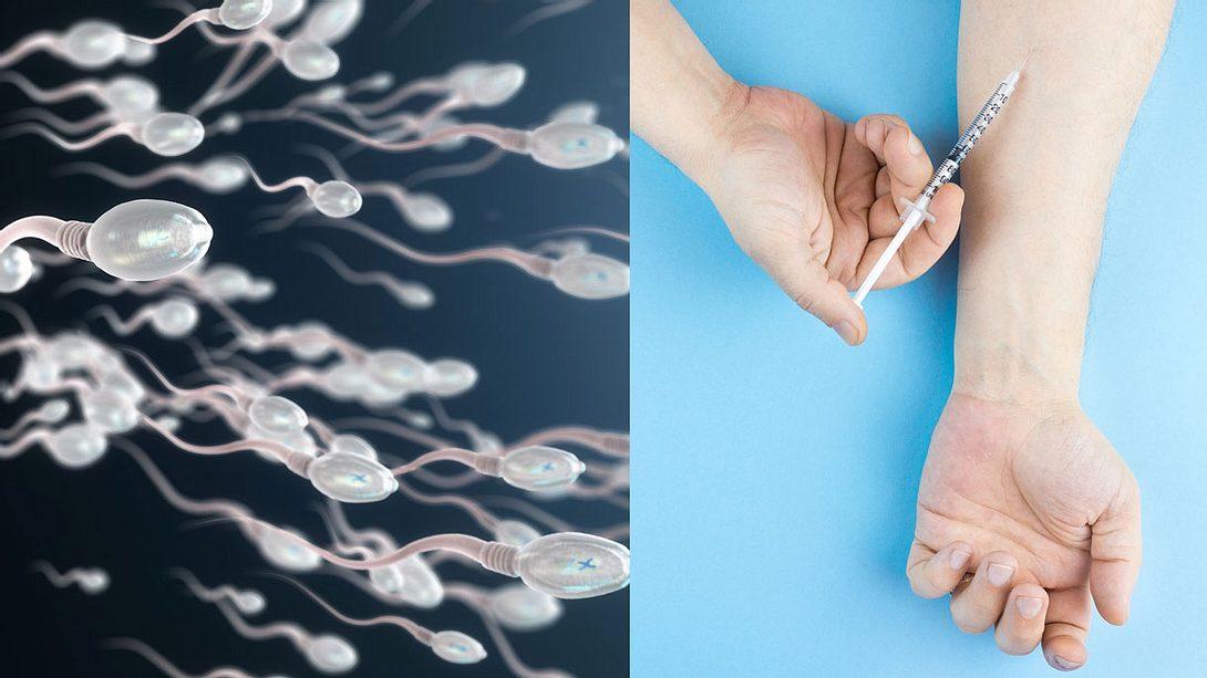 Aus unfassbarem Grund: Mann spritzt sich Sperma in den Arm