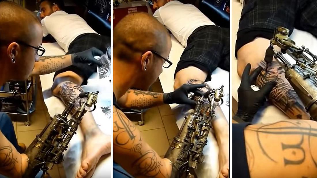 Ink-Roboter: Der Franzose JC Sheitan Tenet tätowiert seine Kunden mit einer Arm-Prothese