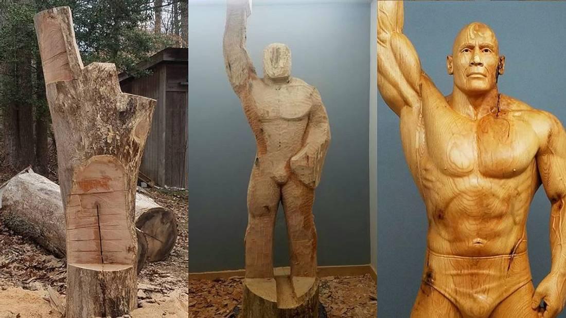 Männerhelden als Holz-Skulptur