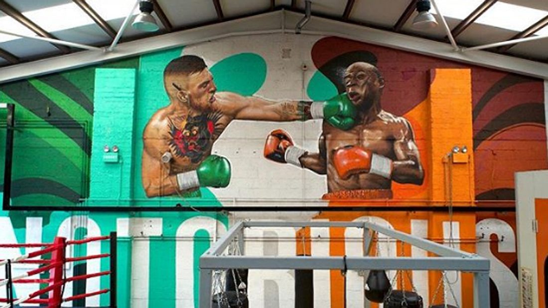 Dieses martialische Mayweather-Graffiti ziert das Gym, in dem Conor McGregor trainiert