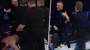 Bellator 187 in Dublin: Conor McGregor attackiert den Referee im Octagon - Foto: twitter/bellatormma