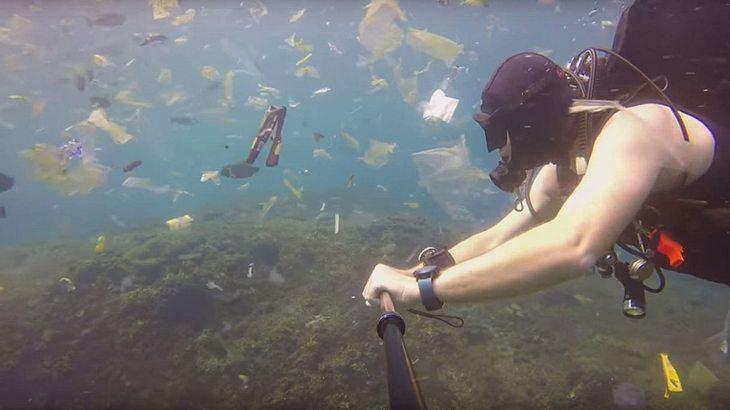 Video eines Tauchers zeigt drastischen Grad an Meeresverschmutzung