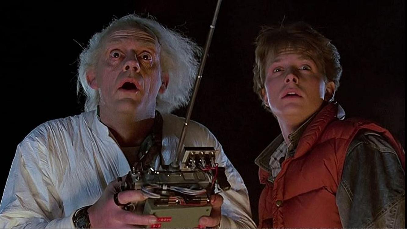 Michael J. Fox und Christopher Lloyd in Zurück in die Zukunft