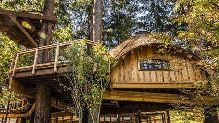 Eins der Microsoft Baumhäuser von außen