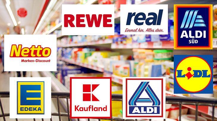 Mega-Produkrückruf von Supermarktketten (Collage)