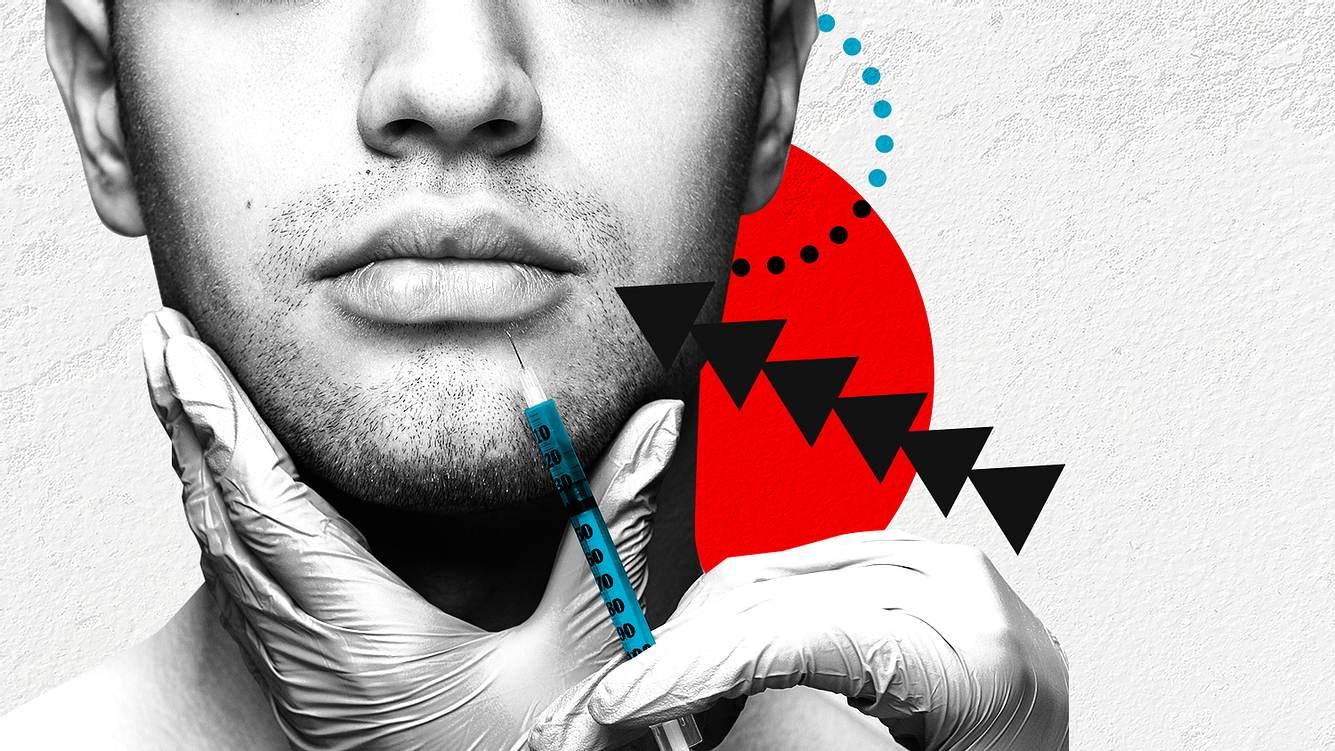 Gesicht eines Mannes und Botox-Spritze