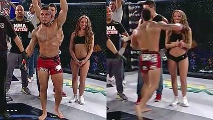 MMA-Kämpfer Andrew The Beast Whitney schlägt ein Nummerngirl mit der Faust - Foto: YouTube/UncleLouie
