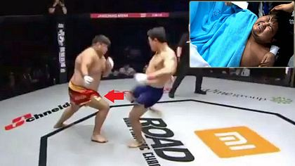 MMA-Fighter Aoirgele tritt seinem Gegner Myung Hyun-Man beim #ROADFC39 in die Hoden - Foto: ROADFC