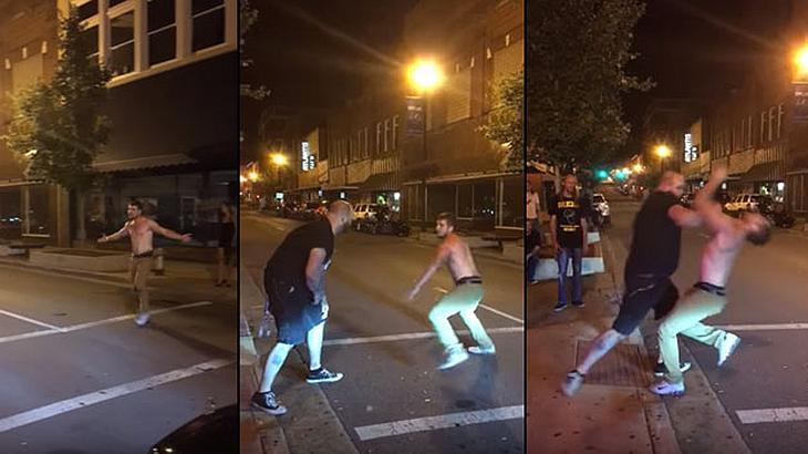 Ein betrunkener Mann attackiert einen in MMA geschulten Türsteher