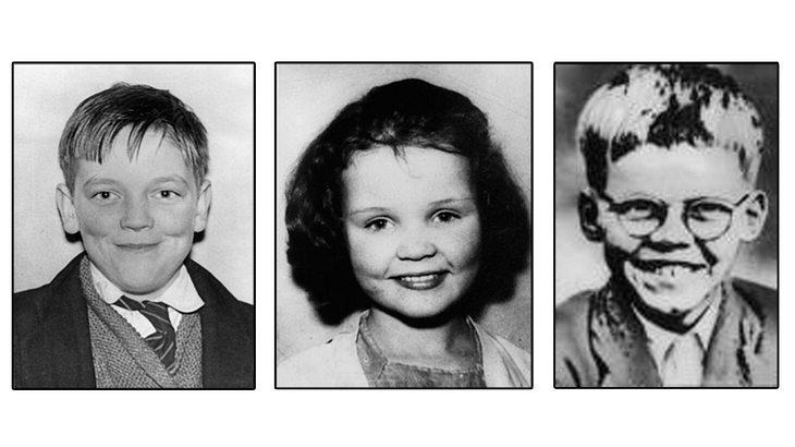 Drei Opfer der Moor-Mörder: John Kilbride (1951 - 63), Lesley Ann Downey (1955 - 65), der Körper von Keith Bennett (1952 - 64)  wurde nie gefunden
