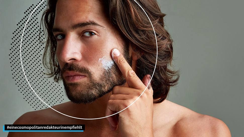 Mann cremt sein Gesicht ein - Foto: iStock / PeopleImages, Collage / bearbeitet durch Männersache