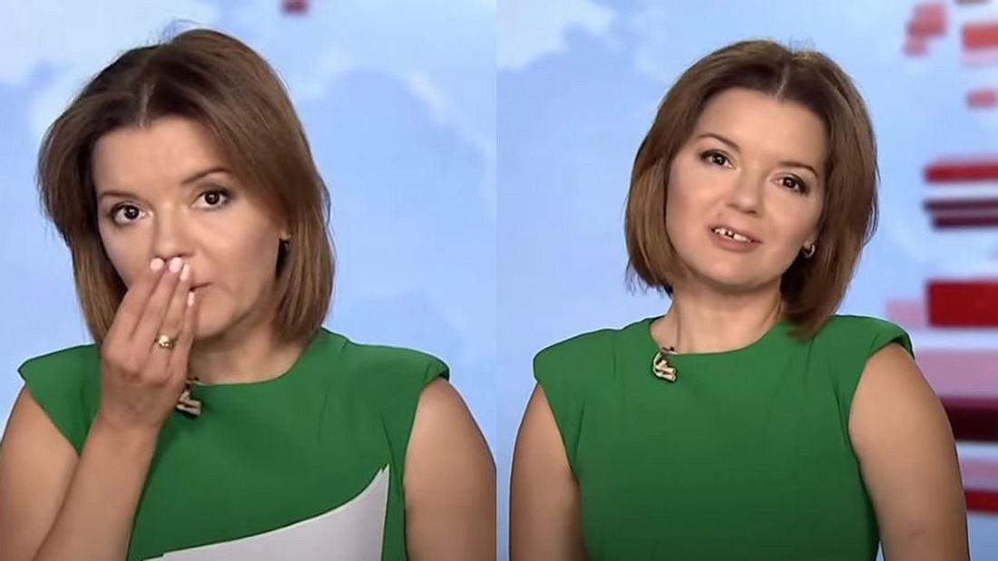 Nachrichtensprecherin verliert Zahn live on air