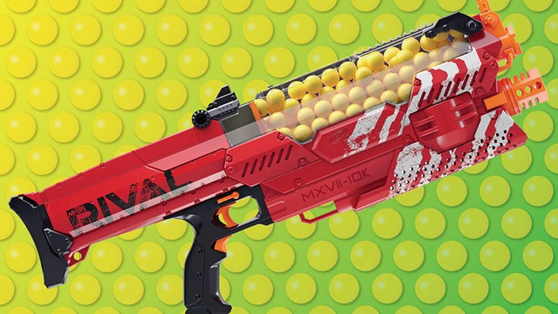 Die Nemesis MXVII-1oK Spielzeugwaffe feuert Kugeln mit 112 km/h ab - Foto: Thrillist/Nerf