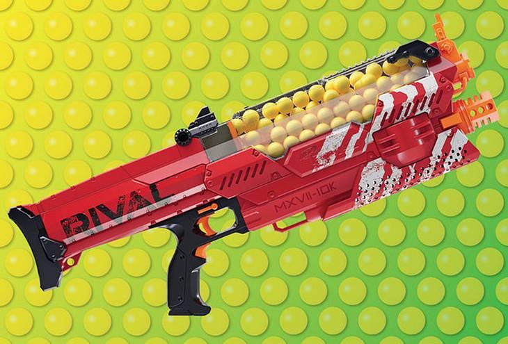 Die Nemesis MXVII-1oK Spielzeugwaffe feuert Kugeln mit 112 km/h ab