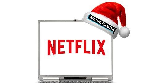 Laptop mit Netflix-Schriftzug und Weihnachtsmütze mit Männersache-Schriftzug - Foto: imago images / McPHOTO / iStock / ZaharovEvgeniy (Collage Männersache)