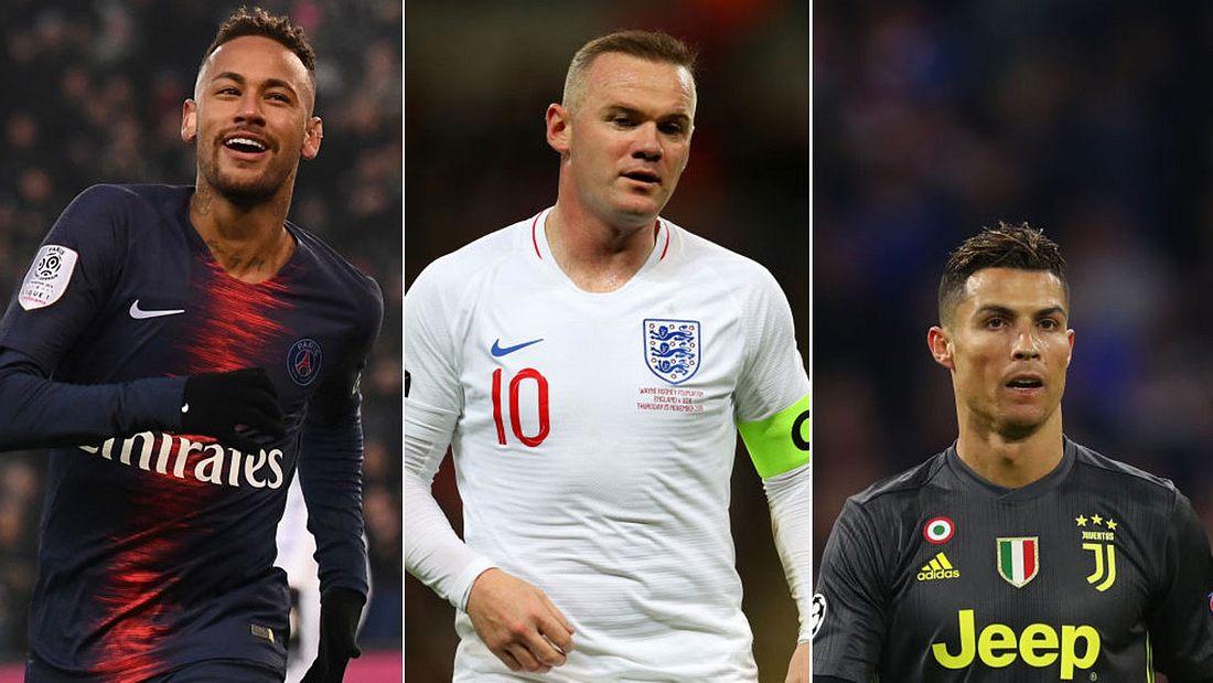 Neymar, Wayne Rooney und Cristiano Ronaldo (v.l.n.r.)