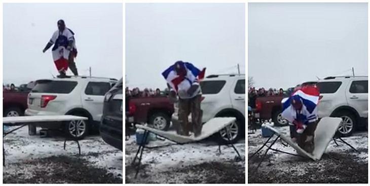 Ein Fan der Buffallo Bills bricht sich bei einem missglückten Stunt ein Bein