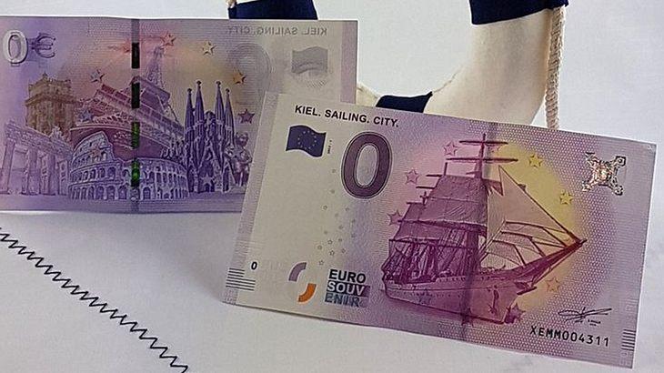Null-Euro-Schein der Kieler Woche mit Gorch Fock als Motiv
