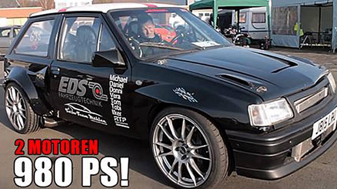 980 PS: Der Opel Corsa Biturbo von Christian Mählen besitzt zwei Motoren