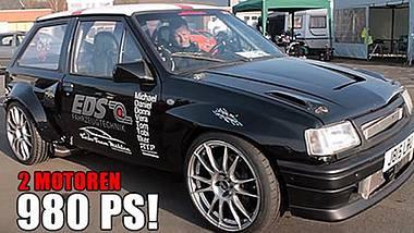 980 PS: Der Opel Corsa Biturbo von Christian Mählen besitzt zwei Motoren - Foto: AutoZeitung