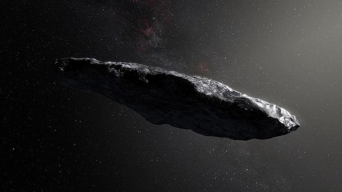 Künstliche Darstellung von Oumuamua
