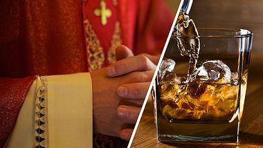 Pfarrer schenkt Whisky aus - Foto: iStock / diego_cervo / igorr1 (Collage Männersache)