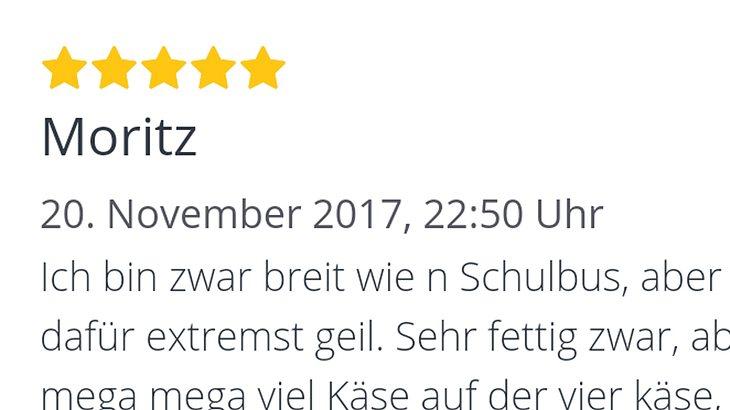 Kiffer Moritz bewertet einen Pizza-Lieferservice