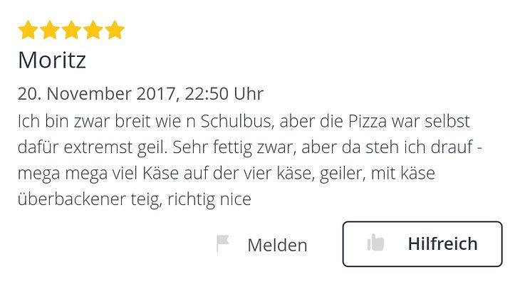 Peizza bestellt: Epische Lieferdienst-Bewertung von Kiffer Moritz