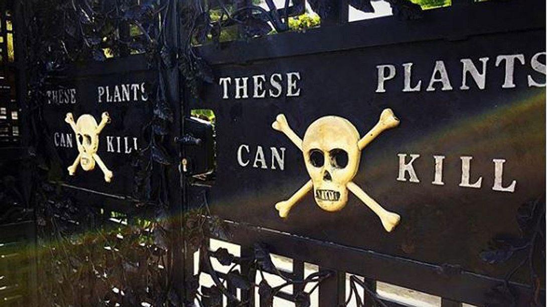 Die Warnung vor dem Eintritt in den Poison Garden - Foto: Instagram / nickwearmouth89