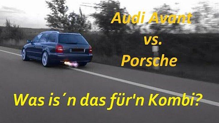 Als Flammen aus dem Auspuff des Audis schlagen, staunt der Porsche-Fahrer