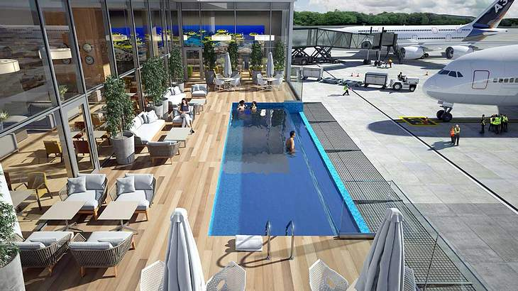 Lässig: Dieser Flughafen hat einen eigenen Pool