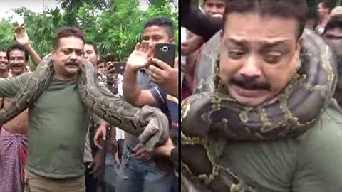 Mann wird beinahe von einer Python erwürgt - Foto: YouTube / SWNS TV