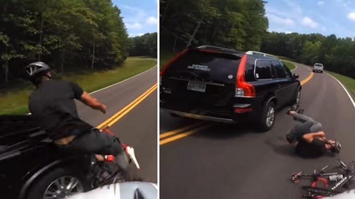 Road Rage: Ein Autofahrer rammt einen Mountainbiker