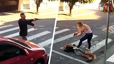 Polizistin außer Dienst erschießt bewaffneten Räuber vor Grundschule