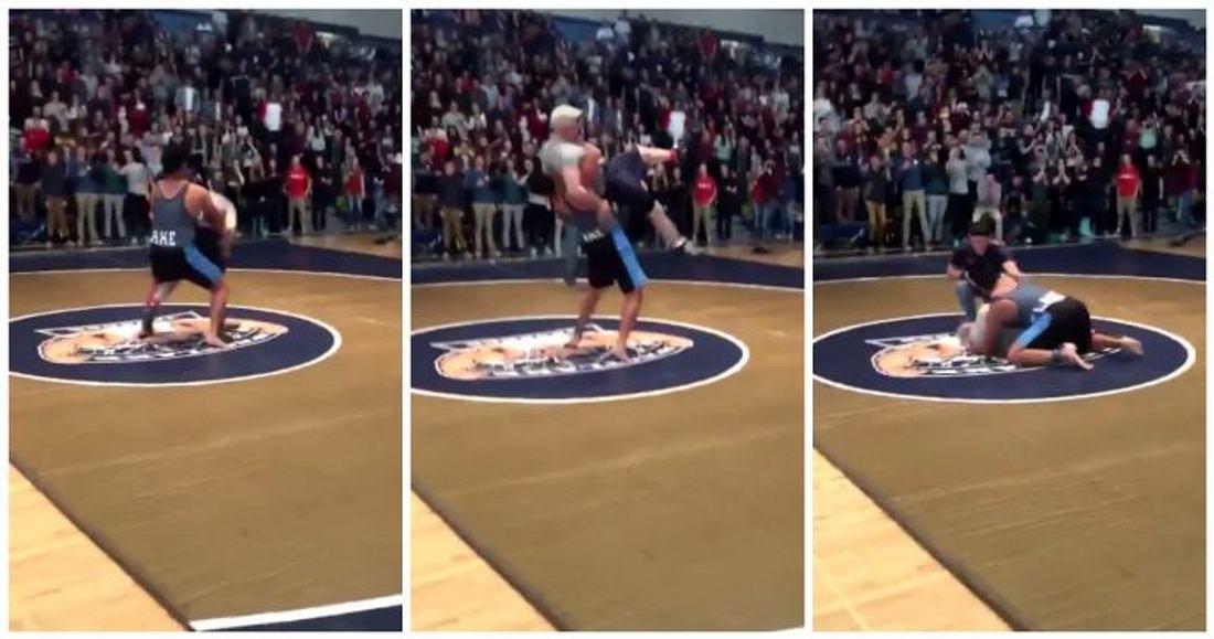 Schulleiter vs. High-School-Ringer: Für eine Benefiz-Aktion kam es in Saratoga Springs, Utah zu diesem ungleichen Duell