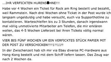 Falsche Tickets, lange Lieferzeit: Eventim-Kunde rastet komplett aus