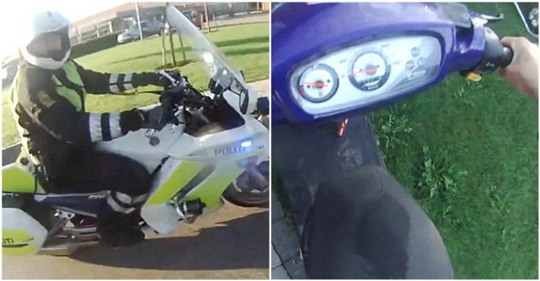 Dieser Jugendliche flüchtet auf seinem Moped vor der Polizei