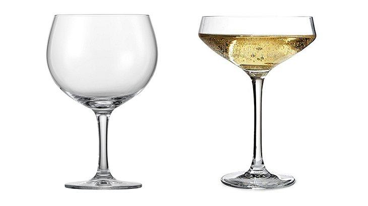 Rotwein- und Cocktailglas