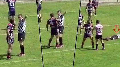 Ein französischer Rugby-Spieler der Mannschaft Saint-Esteve hat beim Junior Cup einen Schiedsrichter KO geschlagen - Foto: twitter/derek_beaumont