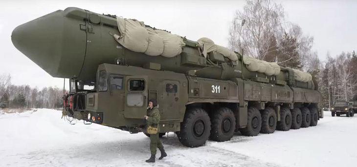Das russische Militär bei einer Übung mit Atomraketen