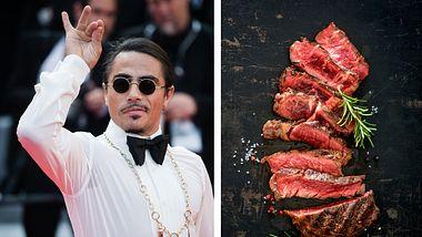 Salt Bae, Rib-Eye-Steak - Foto: Getty Images / Samir Hussein / iStock / AlexRaths (Collage Männersache)