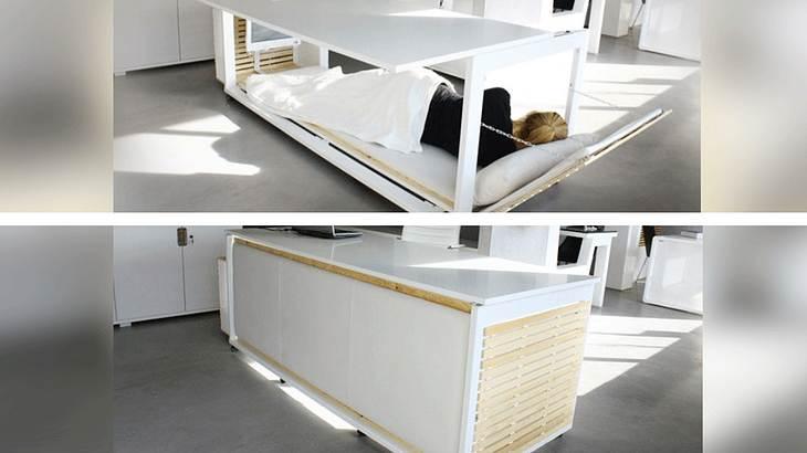 nap desk dieser schreibtisch verwandelt sich in ein bett. Black Bedroom Furniture Sets. Home Design Ideas