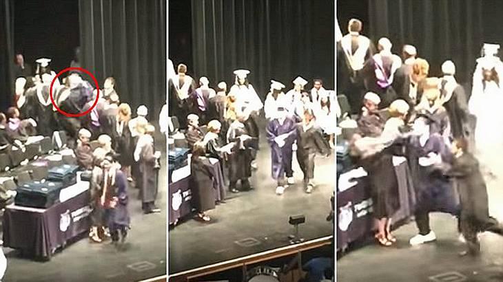 Ein Schüler schlägt zwei Lehrer während seiner Abschussfeier