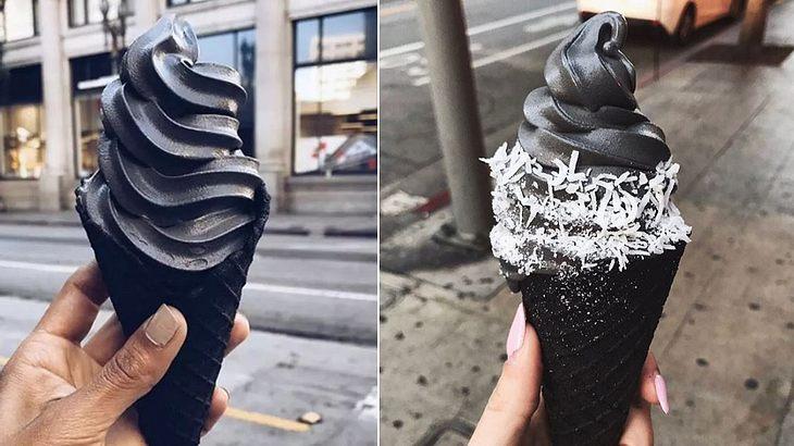 Schwarzes Goth-Eis aus Aktivkohle ist der neuste Food-Trend