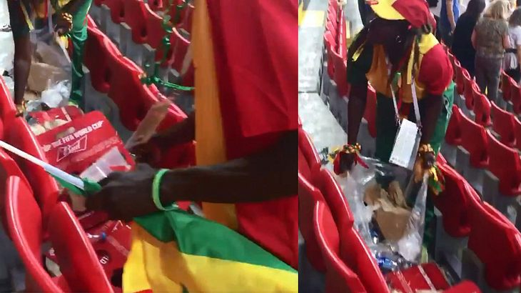 Senegals Fans räumen nach dem Spiel nach Stadion auf
