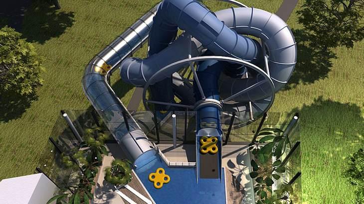 Das SlideWheel, die erste rotierende Waserrutsche
