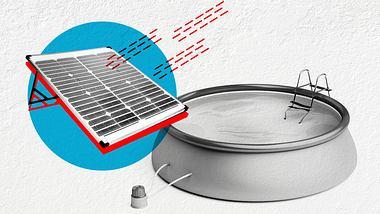 Collage zur Solar-Poolheizung bestehend aus einem Pool, einem Solarabsorber und einer Poolpumpe. - Foto: istock / NAKphotos & MileA