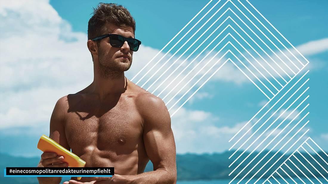 Mann mit Sonnencreme