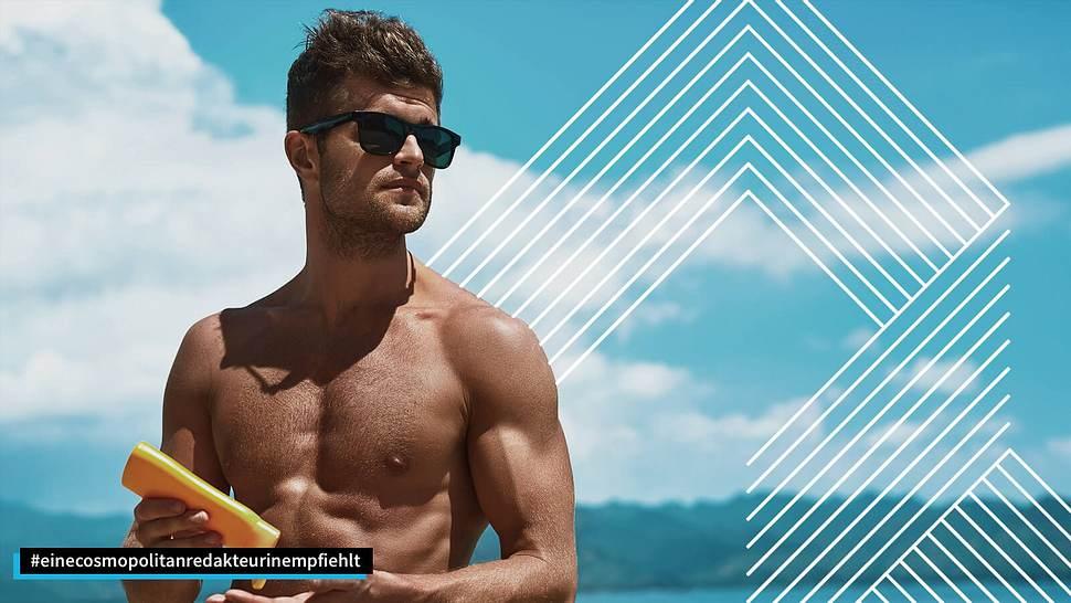 Mann mit Sonnencreme - Foto: •Sonnenschutz für Männer: iStock / puhhha, Collage / bearbeitet durch Männersache