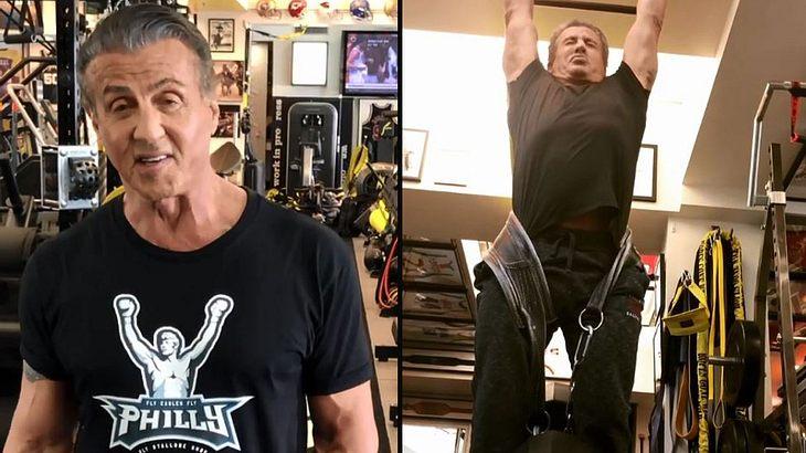 Sly macht Klimmzüge mit 100-Pfund-Gewichten